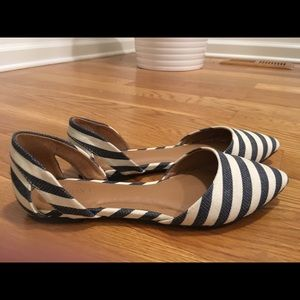 EUC d'orsay striped pointed toe flats